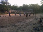 Volleyball in the dry riverbed