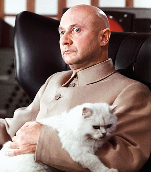 Donald Pleasence in full mufti as Ernst Stavro Blofeld complete with fluffy Persian pet